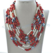 8-11mm Natural Black White Baroque Pearl Andred Coral Gems Long Necklaces 36-100
