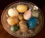 Colorful Alabaster Eggs 2 1/2 And 1 3/4, Etched Glass Bowl Sold Separately