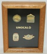 Seattle Mariners Unocal 76 Pin 1 To 4 Lapel Pins - 4 Rare Vintage Pins In Frame