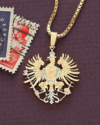 Germany Phoenix Pendant And Necklace, Germany Cut Coin, 7/8 Diameter,  118