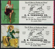 2 Girly Cincy Pin-ups By Elvgren, Ink Blotter Leather Cold Front Risque Cards