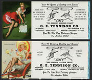 2 Girly Cincy Pin-ups By Elvgren, Ink Blotter Leather Got The Picture Risque