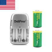 2pcs 800mah Rechargeable Lithium-ion Batteries W/1pc Cr2 3v Battery Charger Us