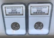 2004-d Wisconsin Extra High And Low Leaf 25c Errors Both Ngc Ms 66 Pl Proof-like