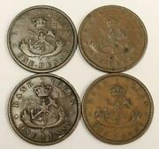 Bank Of Upper Canada One Penny Tokens 1850 1852 1854 And 1857 4-coins