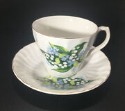 H. Aynsley And Co Staffordshire Uk Floral Lilly/forget Me Not Tea Cup And Saucer