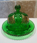 Antique Heisey Pineapple And Fan Covered Butter Dish Green And Gold Eapg 1898