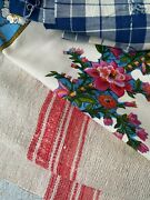 Antique Vintage French Fabrics Materials Crafting Project Bundle 1850s Check