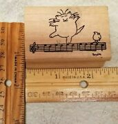 Dancing Cat On A Bar Of Musical Notes With Bird Sandra Boynton Rubber Stamp