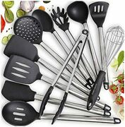 Stainless Steel Silicone Kitchen Utensils Set Cooking Salad Tongs