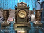 Antique Extremely Fine French Antique Clock Two Sculptures. Brass And Gold Leaf