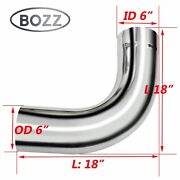 6 6 Inch Od / Id Chrome 90 Degree Bend Exhaust Elbow Pipe - 18 Arms Long Tube