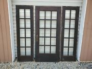 Antique Oak 15 Pane Bevel Glass Door 36 By 80 And The 2 Matching Sidelights...