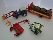 Britains Farm Toys Ford 7710 Tractor + Hay Implements Lot Of 4 Must See 132