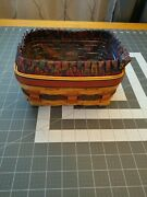 Longaberger 1996 Fathers Day Address Basket With Liner And Protector