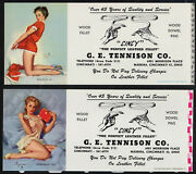 2 Girly Cincy Pin-up By Elvgren Ink Blotter Leather Risque Red Dress High Heels