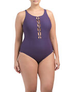 Amoressa By Miraclesuit 128 Retail Cutout One-piece Swimsuit Size 20w Plum Red