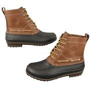 New Sperry Top-sider Decoy Leather Duck Bean Rain Boots Men's Size 10 Brown Tan