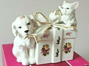 Royal Doulton / Royal Albert Old Country Roses Puppy And Cat On Present Box