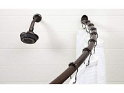 """Bath Bliss Wall Mount Rubbed Bronze Curved Bathroom Shower Curtain Rod, 42""""-72"""""""