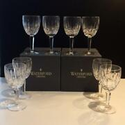 Waterford Kildare Crystal Set Of 8 Plain Base Water Goblet Glasses Mib Cr1726