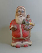 1930and039s Old Primitive Folk Art Hand Carved Wooden Santa Claus