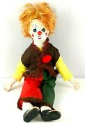 Vintage Porcelain Clown Cloth Musical Blinking Wind Up Plays Send In The Clowns