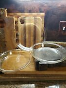 Set Of 3 Vintage Pyrex Clear 209 210 Round Pie Pans Baking Dishes 9 10
