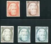 Us Scott 73tc3 Trial Color Plate Proofs On India Paper 5 Different Dfp 7/9/20