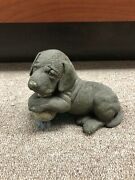 Living Stone Choc Lab Pup With Decoy Dog Figurine Med Statue Sculpture New