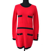 95a 42 Cc Button Long Sleeve Knit One Piece Dress Red Cashmere 05106