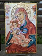 Large Handmade Icon From Greece Virgin Mary, Young Jesus And Angels 40x25 Cm