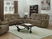 Tan Faux Suede Reclining Sofa And Love Seat Living Room Furniture Set