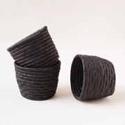 Black Mini Stacking Baskets Handmade In Africa - Fair Trade Product