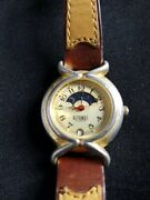 Vintage Gitano Date Moon Phase Gold Tone Women's Watch, Non-working, Untested