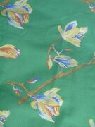 Ikea Stockholm Polished Cotton Fabric Green W Large Branch Yellow Flower 5 Yds