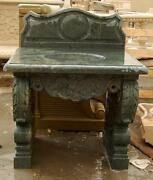 Hand Carved Double Pedestal Marble Sink With Backsplash Features Polished Green