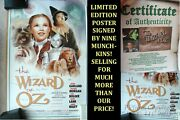 Rare New Limited Edtion Wizard Of Oz Movie Poster Signed By Nine Munchins