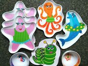 8-pc Set Of Kids Melamine Summer Fun Dishes 6 Plates And 2 Bowls Octopus Dolphin