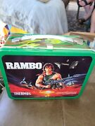 Vintage 1985 Rambo Metal Lunch Box With Thermos Free Shipping
