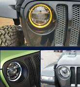 """For Wrangler Jl 2018-2020 2pcs All Led Headlight Halo Projector Drl 9""""3color A1"""