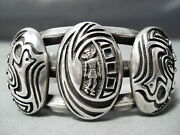 Intricate And Thick Vintage Hopi/ Navajo Sterling Silver Bracelet Cuff