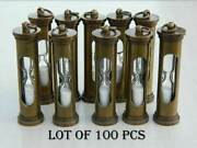 Vintage Sand Timer Key Ring Brass Collectible Lot Of 100 Pcs Antique Finish Gift