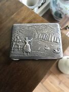 Antique Russian Solid Silver Carved 3d Cigarette Case Or Box Lovers With Swan