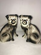 Vintage Matched Sets Of Ceramic Mantle Pug Dogs 9 Inches Great Look