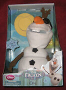 Disney Store Frozen Talking And Singing Snowman Olaf 10 Inch Plush New.