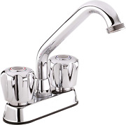3040w Laundry Tub Faucet With Dual-handle, Swivel Spout And Hose End, Chrome