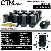 24pc Chevrolet Oem Factory Black 14x1.5 Wheel Lug Nuts Conical Seat For Chevy