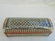 Egyptian Treasure Inlaid Mother Of Pearl Desk Wood Pen Holder Box 7 229
