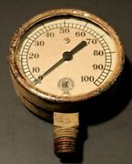 Vintage Motometer Gauge And Equip.co. Pressure Gauge With Indian Logo